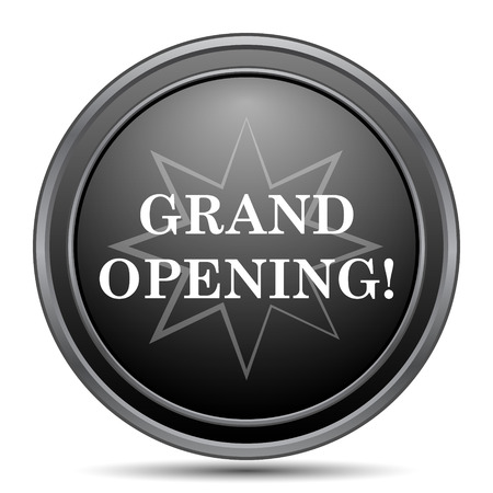 grand sale button: Grand opening icon, black website button on white background.