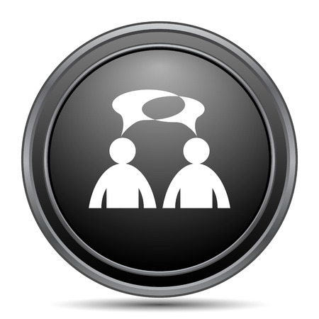 black button: Comments icon, black website button on white background. - men with bubbles Stock Photo