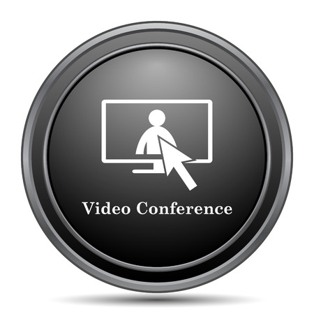 human resource affairs: Video conference, online meeting icon, black website button on white background.