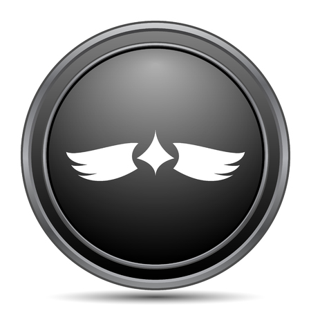 pacification: Wings icon, black website button on white background.