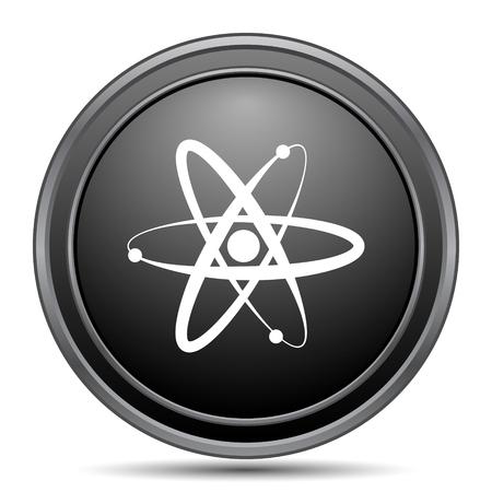 gamma radiation: Atoms icon, black website button on white background.