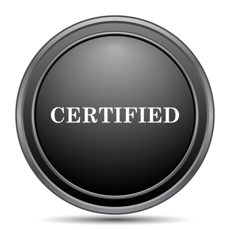 certify: Certified icon, black website button on white background.