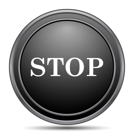 running off: Stop icon, black website button on white background.
