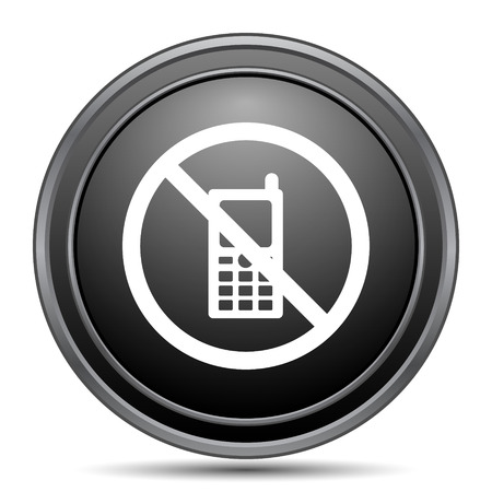 use regulations: Mobile phone restricted icon, black website button on white background.