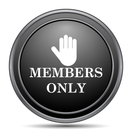 closed community: Members only icon, black website button on white background.