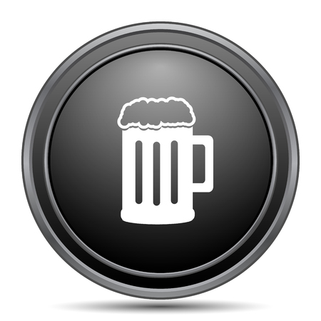 Beer icon, black website button on white background.