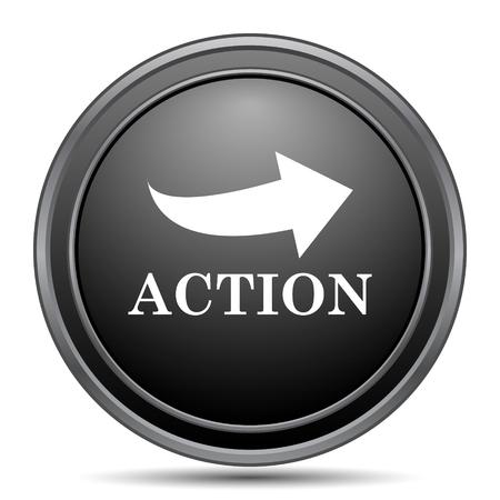 black button: Action icon, black website button on white background.