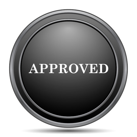 approved icon: Approved icon, black website button on white background. Stock Photo