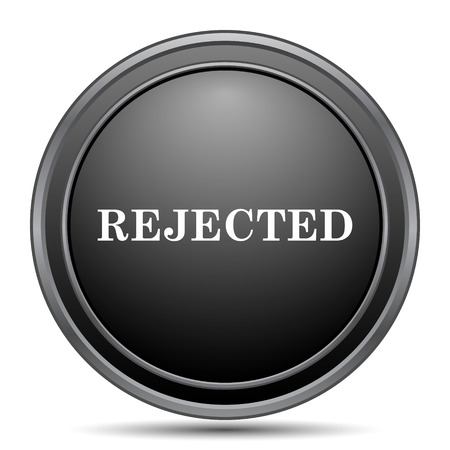 black button: Rejected icon, black website button on white background.