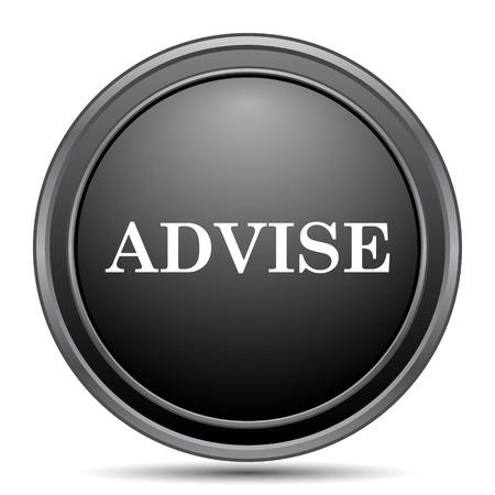 advise: Advise icon, black website button on white background. Stock Photo