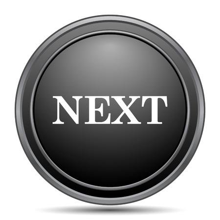 background next: Next icon, black website button on white background. Stock Photo