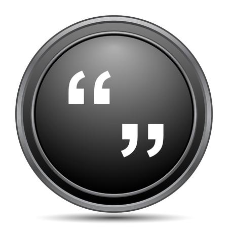 black button: Quotation marks icon, black website button on white background.