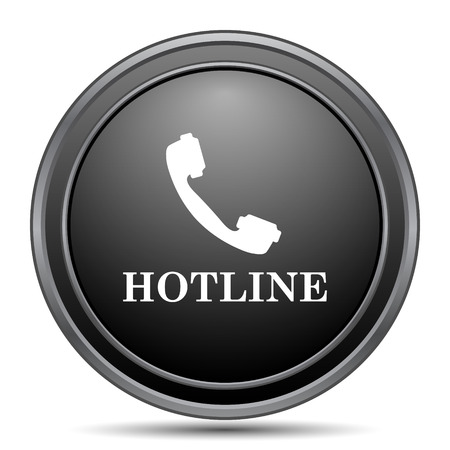 hotline: Hotline icon, black website button on white background.