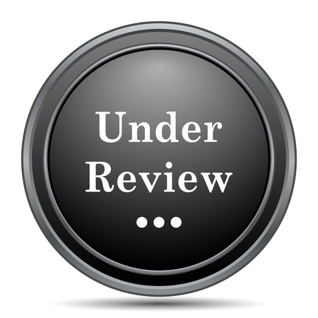 canceled: Under review icon, black website button on white background. Stock Photo