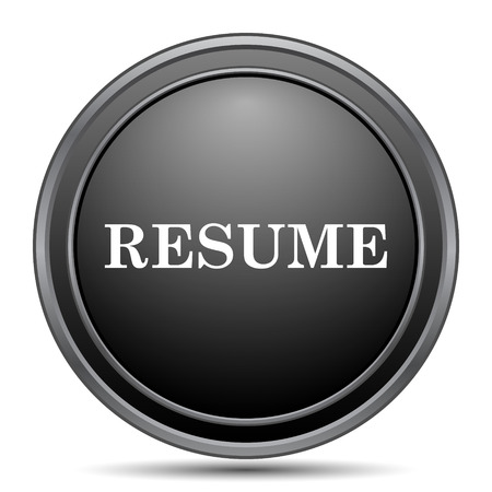 unoccupied: Resume icon, black website button on white background. Stock Photo