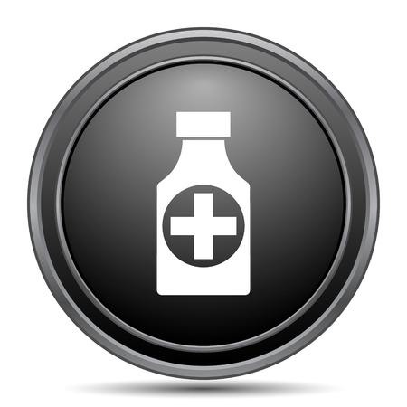 prescription bottles: Pills bottle  icon, black website button on white background.
