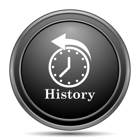 appointments: History icon, black website button on white background. Stock Photo