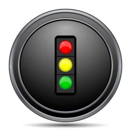 Traffic light icon, black website button on white background. Stock Photo