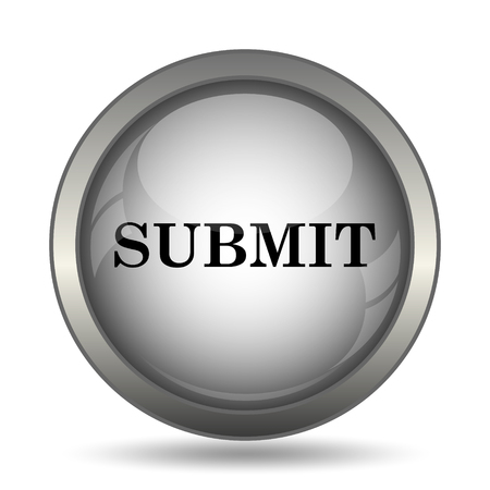 submitting: Submit icon, black website button on white background.