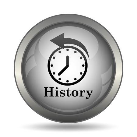 black history: History icon, black website button on white background. Stock Photo