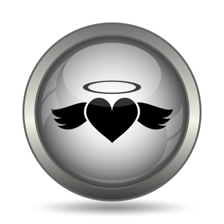Heart angel icon, black website button on white background.