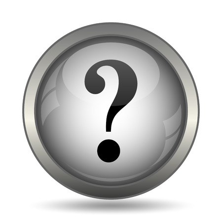 Question mark icon, black website button on white background. Stock Photo