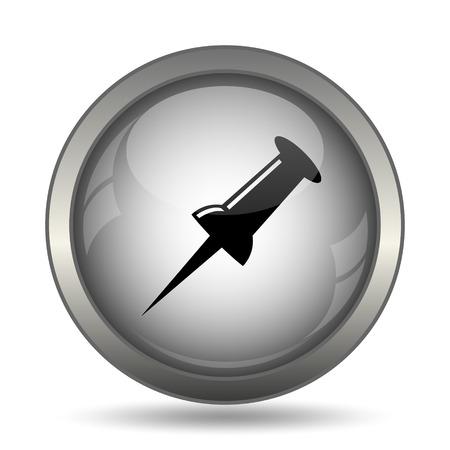bulletin: Pin icon, black website button on white background.