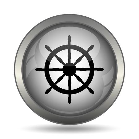 dockyard: Nautical wheel icon, black website button on white background.