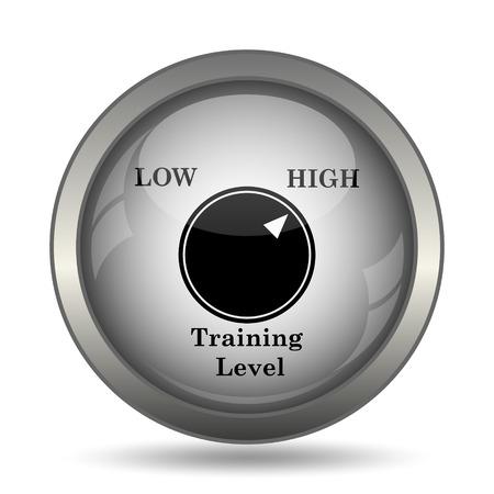 learning icon: Training level icon, black website button on white background. Stock Photo
