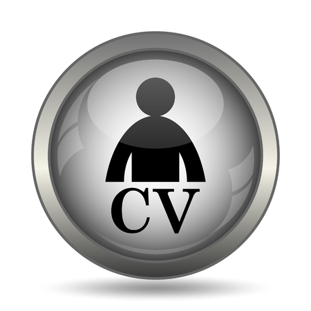 CV icon, black website button on white background.