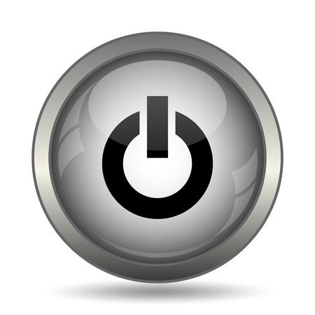 Power button icon, black website button on white background. Stock Photo