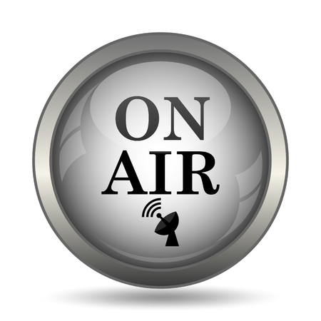 On air icon, black website button on white background.