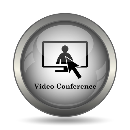 metier: Video conference, online meeting icon, black website button on white background.