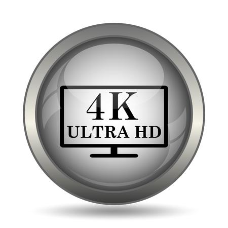 hdtv: 4K ultra HD icon, black website button on white background.