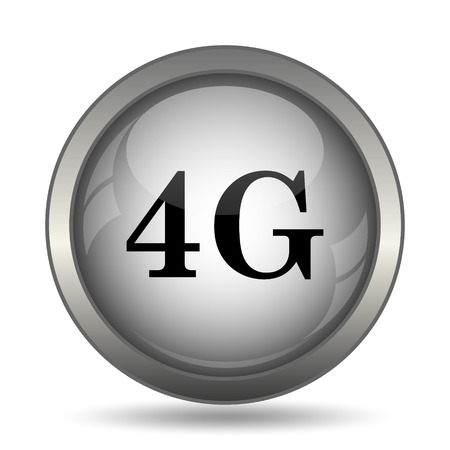 3g: 4G icon, black website button on white background. Stock Photo