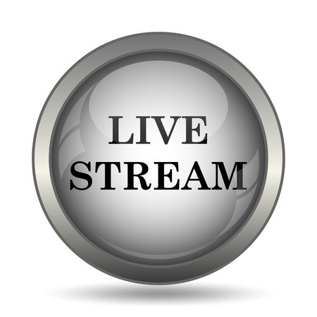 news cast: Live stream icon, black website button on white background. Stock Photo
