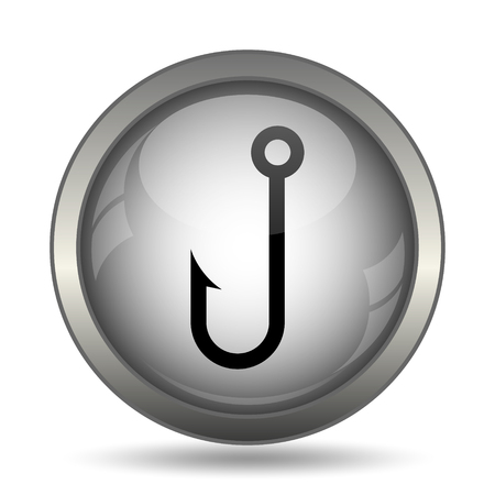 entice: Fish hook icon, black website button on white background.