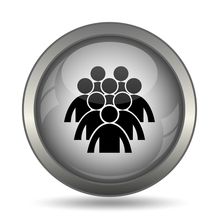 black people: Group of people icon, black website button on white background.