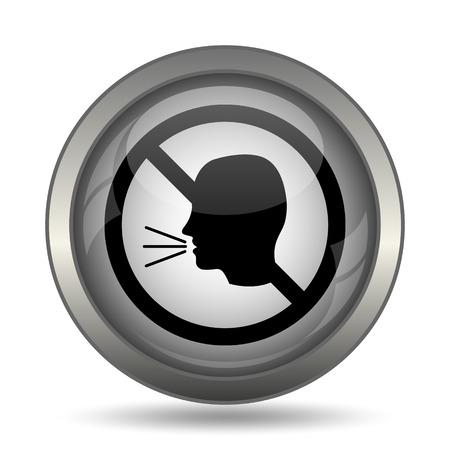 guardar silencio: No talking icon, black website button on white background. Foto de archivo