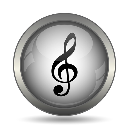 Musical note icon, black website button on white background. Stock Photo