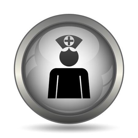 Nurse icon, black website button on white background. Stock Photo