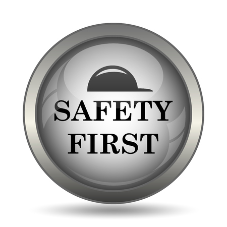 cautionary: Safety first icon, black website button on white background.