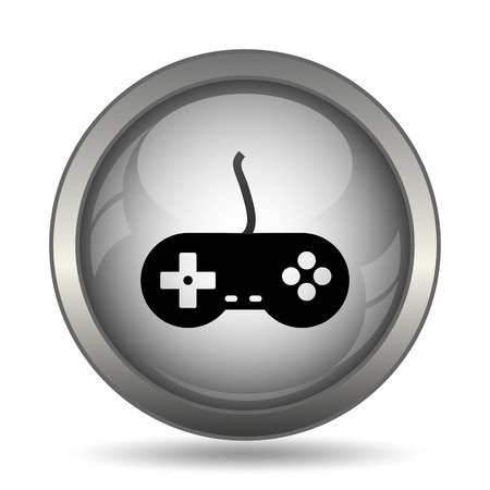 Gamepad icon, black website button on white background.
