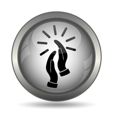 Applause icon, black website button on white background. Stock Photo