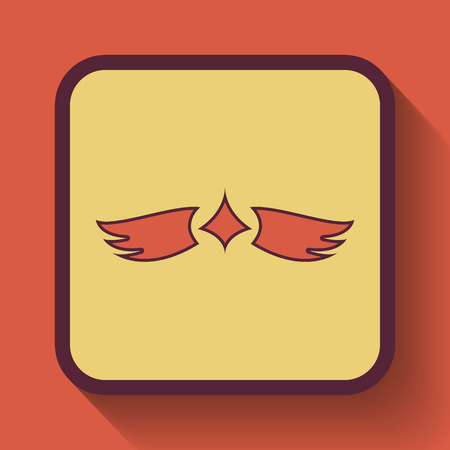 pacification: Wings icon, colored website button on orange background.