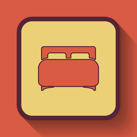 twin bed: Double bed icon, colored website button on orange background.