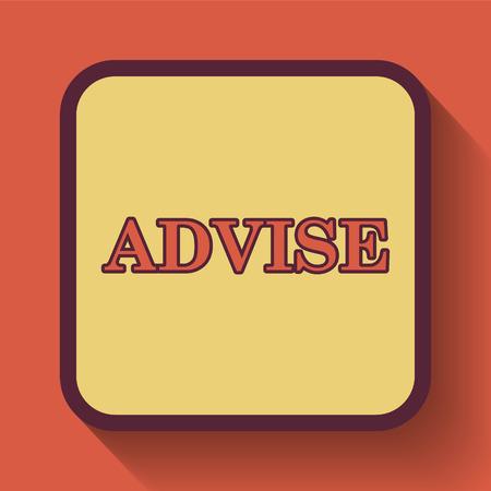 advise: Advise icon, colored website button on orange background.