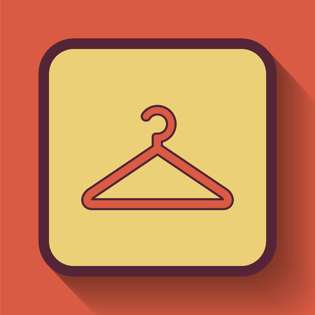 clothing rack: Hanger icon, colored website button on orange background. Stock Photo