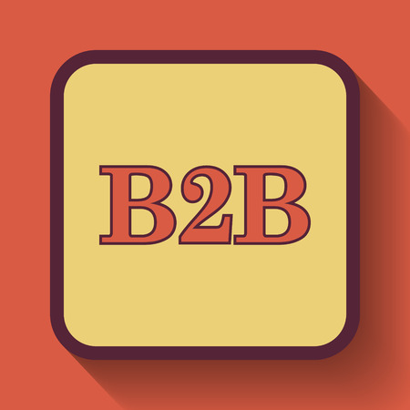 b2b: B2B icon, colored website button on orange background. Foto de archivo