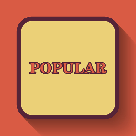 most popular: Popular  icon, colored website button on orange background.